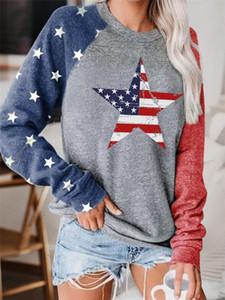 Womens Designer Patchwork manches longues Sweats à capuche O Neck femmes Sweat mode Drapeau américain et étoiles de couleur contrastée en vrac Femme Vêtements