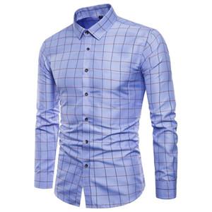 Manga larga para hombre de Oxford de algodón puro formal Alto grado de tela escocesa Camisetas de manga larga Slim Fit camisa de trabajo informal de los hombres Top M-5XL