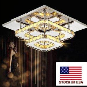 36WSquare Crystal pasillo de techo luces LED moderna lámpara colgante de cristal que cuelgan del accesorio de iluminación para la sala de estar Dormitorio