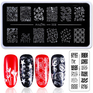 Aço inoxidável Nail Art Stamping Placa Flower Animal Geometria Stamp Template Manicure Prego Stamping Placas de Imagem Stencil F528