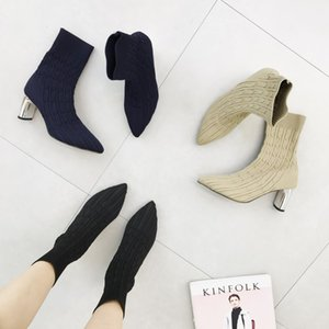 2019 New Spring Summer Women Boots Mid-Calf Genuine Leather Pointed Toe High (5cm-8cm) Bag and Shoes Match Square Heel