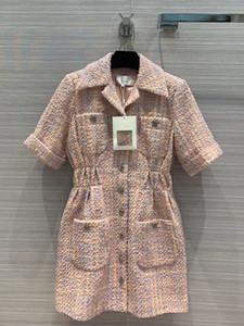 das mulheres europeias e americanas desgaste 2020 Verão novo estilo de manga curta de lapela único breasted casaco vestido Tweed