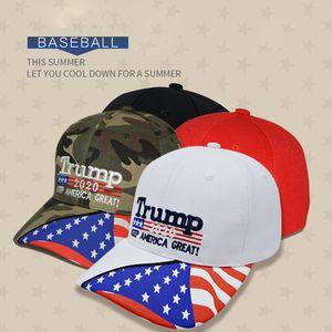 4 colores Trump Gorra de béisbol 2020 Keep America Great Again Sombreros Trump Donald Carta de bordado 3D Ajustable Gorra de béisbol deportiva BH1949 CY