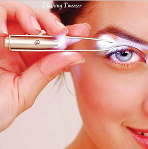 LED Sourcils en acier inoxydable Brucelles Cils Sourcils yeux Outils de cheveux Remover conduit pince Brucelles Sourcils outil de beauté