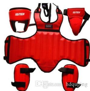 SUTEN PU Leather Sanda Boxing Protective Gear 4pcs Set Thick Head Guard Chest Protector Jockstrap Leg Shield 4pcs Per Set Wholesale