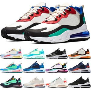 Nike Air Max 270 React  Barato Hombres Mujeres Zapatos Corrientes SER VERDADERO Amarillo Triple Negro Blanco Hombres Entrenador deporte zapatilla de deporte