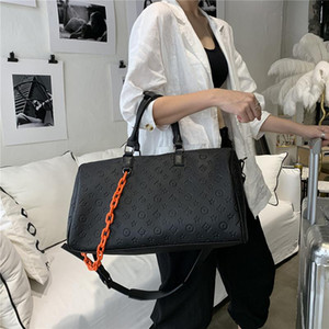 saco de viagem marca popular unisex grande carry pendurada portátil no saco de bagagem maré couro mala valise da moda coreana