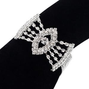 Venda quente de alta qualidade luxo strass Luxurious arco cadeia Bead Acessórios Fundo Longo noiva Senhora Pulseira B - 192 Bangle Para Mulheres Meninas