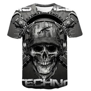 Череп майка Мужчины Скелет Tshirt Punk Rock Tshirt Gun футболки 3d печати Tshirt Урожай Мужская одежда Летняя топы Плюс Размер 6XL