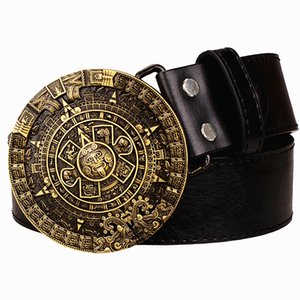Personality Aztec gold belt metal buckle round solar calendar men's leather belts punk rock belt women jeans belt hip hop girdle