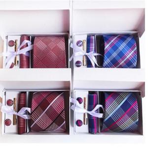 جديد كرافات منقوشة تصميم الرجال الرقبة العلاقات كليب المنديل cufflinks مجموعات رسمية 8 سنتيمتر ارتداء الأعمال حفل زفاف الحرير العنق ل رجل 18 الألوان