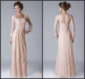 2020 nuevo de la vendimia de la madre Champagne del novio de la novia vestidos de escote cuadrado de gasa de encaje con mangas larga vestidos de noche vestido de novia
