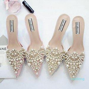 Hot Tacchi Vendita-perla Strass Alta scarpe per le signore la punta del piede scarpe rosa e beige del sandalo calza il formato 35-39 di trasporto