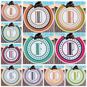 Runde Strandtuch Brief Mikrofaser Stranddecken Quaste Badetuch Unisex Schal Yoga Matte 150cm 21 Designs CCA11798 6St