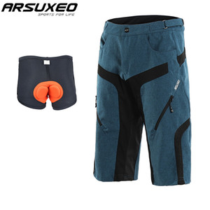 ARSUXEO Men's Outdoor Sports Cycling Shorts Quick Dry Downhill MTB Shorts Water Resistant Mountain Bike Adjustable Waist