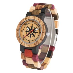 Wristwatch Handmade Compass Band Design Watches Couple Watch For Wood Natural Dial Display Womens Quartz Analog Mens Casual Wooden Wris Wbsd