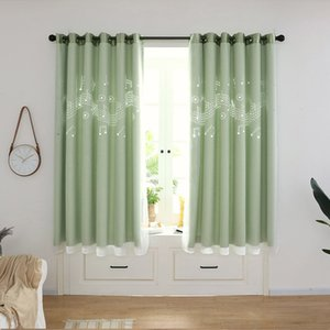 Modern Style Creative Fashion High Shading Openwork Note Curtain Bedroom Living Room Curtain Warm Short Colorfast BS