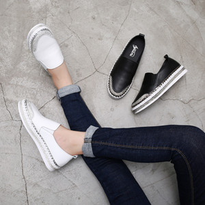 Yu Kube Genuine Leather Loafers Shoes 2019 Crystal sneakers Ballerina Woman Flats Ladies white Driving shoes zapatos de mujer