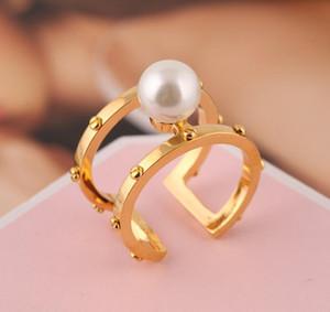 Parti Düğün Hediyesi için Pearl olan kadınlar Takı için Kadın Sıcak Satış 18K Altın Yüzük Lüks Desinger Halkalar