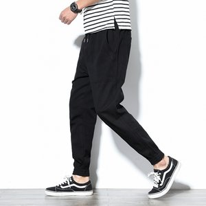 Primavera Mens Cargo Pants cotone comodi pantaloni della matita Solid coulisse Black Navy Khaki casual jogging Men BINHIIRO 2019