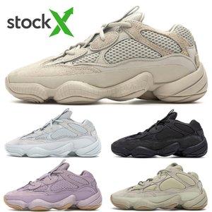 2020 Top Quality Kanye West 500 Running Shoes Utility Rato Preto Desert Macio Visão Sal 3M reflexiva Super lua amarela Homens Womem Sapatilhas