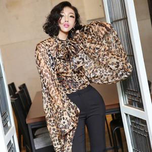 [MENKAY] Streetwear Leopardo Sheer Tops Manga Larga Linterna Mujer Moda Coreana J190424