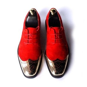 Roja ata para arriba los zapatos de vestir Bullock tallado del dedo del pie del cuero genuino Oxford boda zapatos del partido de los hombres de oro