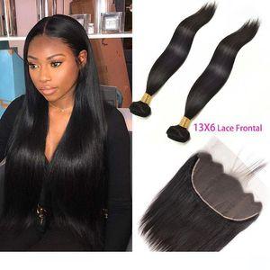 Une Malaisienne de cheveux humains 2 Bundles Avec 13 par 6 dentelle Frontal droite Virgin Hair Extensions 3 Pièces Lot cheveux Trames avec 13x6 Lace Front