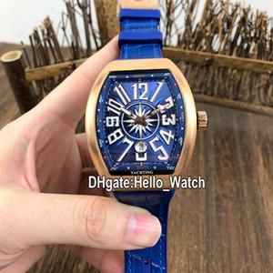 Nuovo Saratoge Yachting cassa in oro rosa V45 SC DT YACHTING 5N Quadrante Blu automatico della vigilanza di Mens blu cinturino in pelle orologi Hello_Watch 6 colori