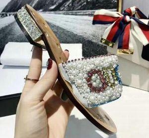 TOP ENVÍO GRATIS nuevas señoras zapatillas de perlas letras coloridas de la moda popular marca sandalias estilo de mujer con altura 5.5 CM tamaño 35--40