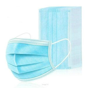 DHL Shipping 50Pcs Disposable Face Masks Thick 3-Layer Masks with Earloops for Salon, Home Use Comfortable in stock Mask