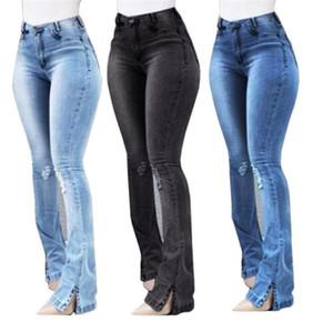 Tasarımcı Jeans Moda Bölünmüş Legging Delikleri Womens Denim Bootleg Pantolon Yüksek Bel Artı Ölçekli Bayan Kot
