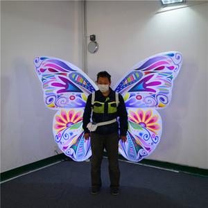 Décor personnalisé scène d'éclairage gonflable d'aile de papillon Costume de Colorful adulte Coup Wearable Complets Up Butterfly Parade Voir