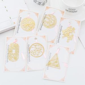 Venta al por mayor de papelería Sakura estilo chino ahueca hacia fuera la señal del metal de oro del regalo promocional a la Escuela de escritorio