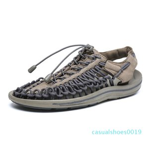 Mens Weave Sandals oco Out Casual sandália leve e respirável Fishman Shoes Moda Snakers Praia Walking Shoes FX33 C19