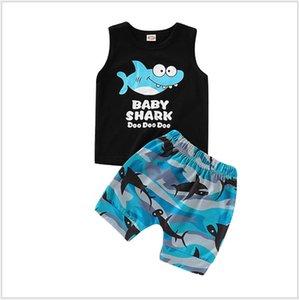 2019 Novos Conjuntos de Roupas de Verão Meninos Crianças Camuflagem Dos Desenhos Animados Tubarão Impresso Vest + Shorts 2 pcs Set Menino Terno Crianças Outfits 80-120 cm