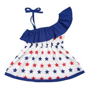 Bebek Kız Bağımsızlık Günü Prenses Giydirme Yaz Çocuk eğimli omuz Bow Askı Elbise Çocuk Yıldız Baskılı Elbise BY1126 Dantel-up