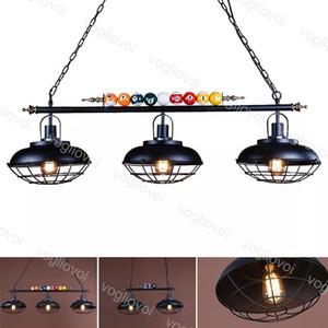 Lámparas colgantes Tabla de billar creativa Lámpara colgante Nórdica Decorar luces Retro Industrial E27 para Restaurante Indoor Bar Cafe DHL