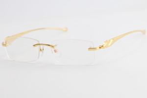 El envío libre caliente 5102338 Oro sin rebordes de las lentes serie de leopardo Mujeres Moda Gafas con la caja de C Decoración marco de oro Tamaño: 54-16-138mm