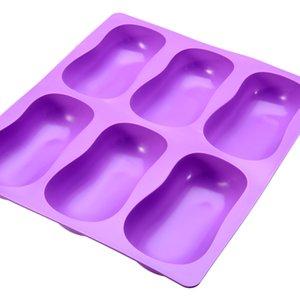 Nouveau ovale gâteau Moule silicone Safe Non toxique moisissure moisissure maison savon pour Candy Biscuit Ice Ice Lattice Plateau 205 * 185 * 35 mm