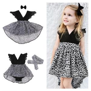 Aile Maç Bebek Kız Kardeş Prenses Leopar Tül Tutu Elbise Kafa Çocuk Bebek fırfır Dantel Romper Elbise Childs Parti Etek E21902