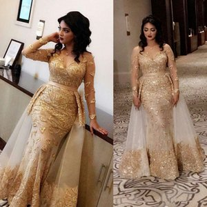 Arabic Dubai Sheer Long Sleeves Lace Mermaid Evening Dresses 2020 V Neck Tulle Applique Formal Party Mother Gowns WIth Detachable Skirt