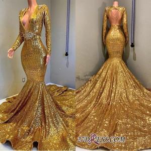 2020 Sequins dell'oro Prom Dresses nuovo sexy d'immersione con scollo a V maniche lunghe Mermaid Partito Pageant abiti Donne Occasione sera veste BC0577