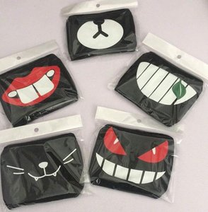 Washable Breathable Unisex Black Cloth masks cute lip Style Mustache pattern Decoration Face Mask Resuable Cotton Mouth Mask Free Shipping