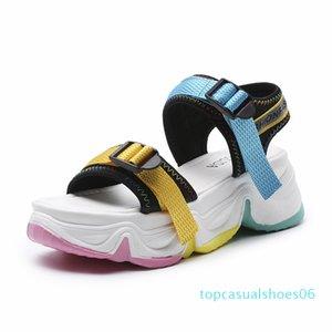 Rainbow Sole Open Toe Sport Sandals Women Color Buckle Casual Platform Wedge Sandals Summer Beach Shoes Women 2020 t06