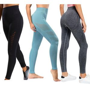 Cintura alta Yoga Pants Gym Seamless Leggings alta elásticas tubarão Exercício calças justas Mulheres Calças para fitness Yoga Correndo Sports