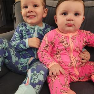 Детские ползунки младенческие новорожденные мальчики для девочек Одежда осенью с длинным рукавом олень печатная коммутация комбинезон комбинезон