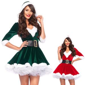 Seksi Küçük Elf Bayan Santa Noel Kostüm Noel Cosplay parti Fantezi Elbise Kıyafet Z767 MLXL