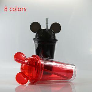 450ml fare kulak taklacı 8 renk çift akrilik kubbe duvarlı aynı renk saman şeffaf mandal