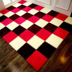 Porte tapis Stitching de tapis-chambre en mousse EVA salon ramper coussin tatami casse-tête tapis de tapis de sol en peluche 30 * 30 * 1cm matériau EVA